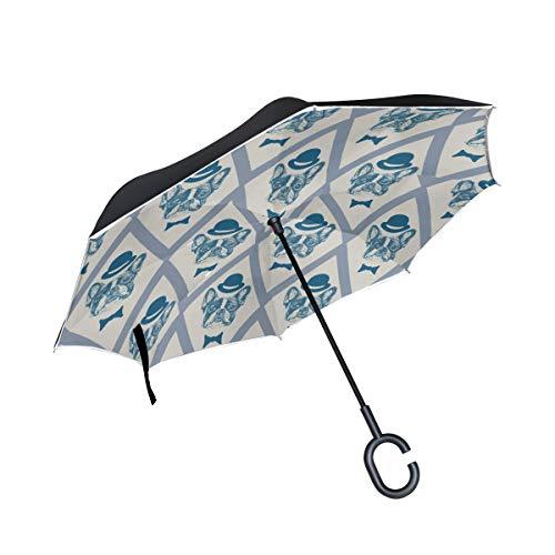 Cartoon Hut Hund Doppelschicht Falten Anti-Uv Schutz Winddicht Regen Gerade Autos Golf Umgekehrte Umgekippte Schirmständer Mit C förmigen Griff