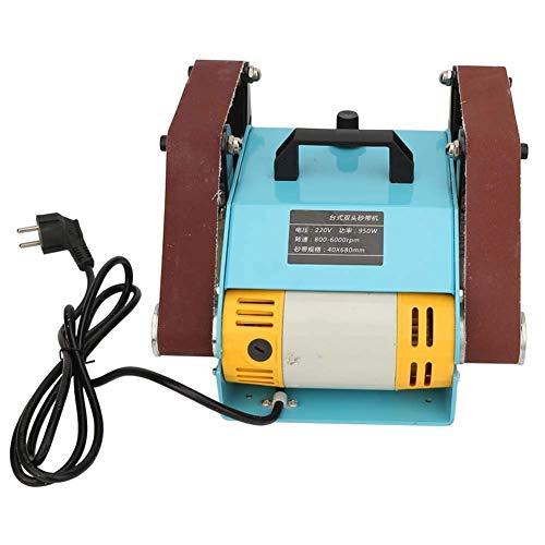950W Elektrische Bandschleifmaschine,220V Elektrische Bandschleifmaschine Schleifmaschine Doppelachse Schleifbock Elektrische Doppelkopf Schleif Desktop Bandschleifer Poliermaschine