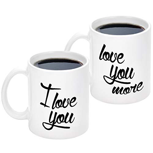 I Love You Love You More Funny Couple Coffee Mugs Set Valentine's Day Engagement Bridal Shower Wedding Gifts for Him Her Bride and Groom Husband Wife Newlywed Novelty Ceramic Cups 11 Ounce White