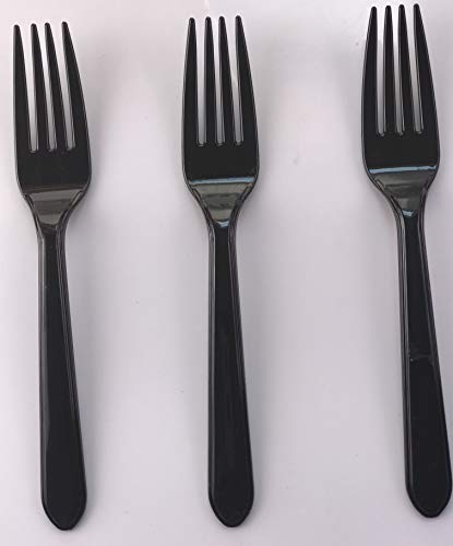 100 x Black Plastic Forks Strong Heavy Duty Reusable Disposable Dessert Dinner Starter Cutlery