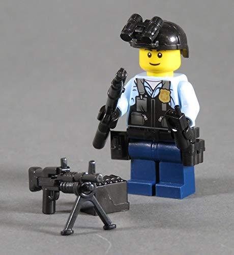 Markenwelt-Voegele Polizei Figur Polizist SWAT aus Lego ® und Custom Teilen mit Zubehör Leichtbauhelm