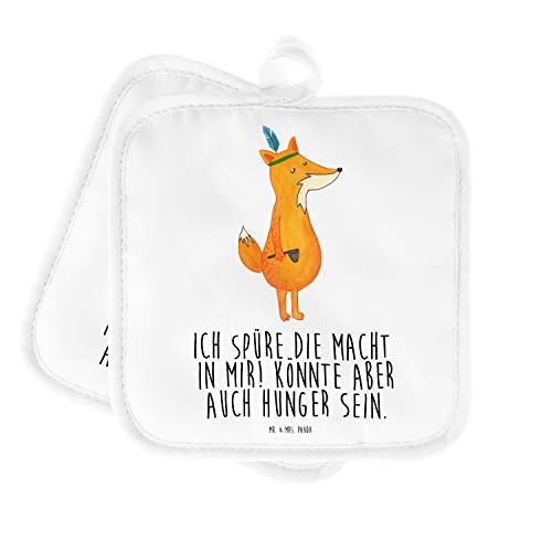 """Mr. & Mrs. Panda Topfuntersetzer, Küche, 2er Set Topflappen \""""Fuchs Indianer mit Spruch\"""" - Farbe Weiß"""