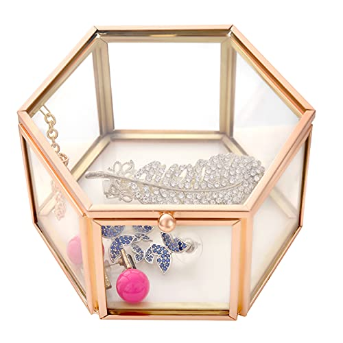 Funerom 4.1x2.5 inch Vintage Glass Jewelry Box Wedding Engagement Ring Dish DisplayTrinket Keepsake Box Hexagon Antique Gold
