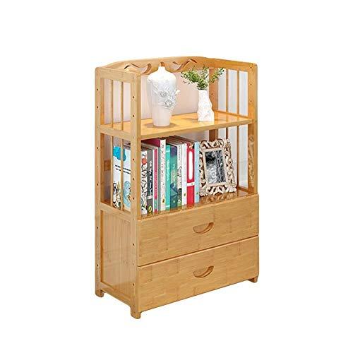 WKLIANGYUANPING Estanteria Libros Bambú Natural Estantería con cajón Espesa la estantería de Almacenamiento Gabinete de Montaje fácil for los Registros de Libros (Size : 94x50x26cm(37x20x10inch))