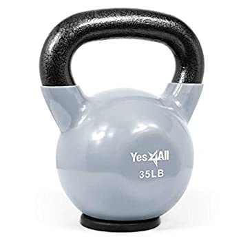 Yes4All Vinyl Coated Kettlebells – Weight Available  5 10 15 20 25 30 35 40 45 50 lbs  S 35lbs - Rubber Base - Grey