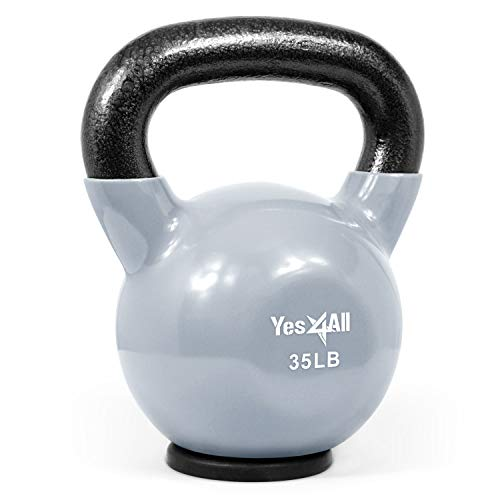 Yes4All Vinyl Coated Kettlebells – Weight Available: 5, 10, 15, 20, 25, 30, 35, 40, 45, 50 lbs (S. 35lbs - Rubber Base - Grey)