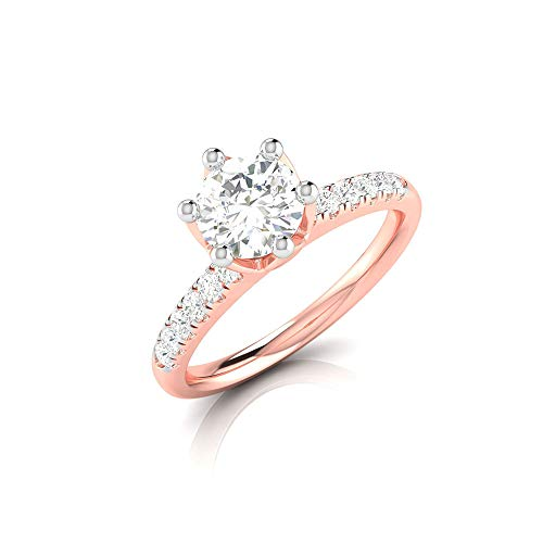 Anillo de boda con solitario de moissanita de 0,68 ct, IDCL certificado de piedra preciosa DEF-VS1, anillo de claridad de color, declaración de dama de honor, 14K Oro blanco, Size:EU 69