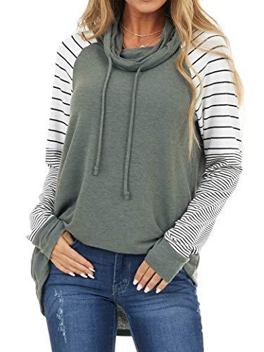 RHSWAUD 여성 스트라이프 인쇄 컬러 블록 스웨터 카울넥 루즈 드로스트링 풀오버