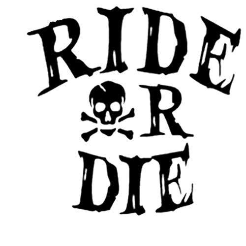 Calcomanías Ride or Die Pegatinas de Coches de Vinilo Motocicleta Decals Ventanas de Pared Maleta (Color : Black)
