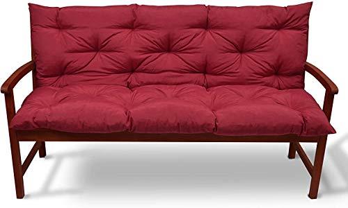 Cojín de banco, colchón con respaldo para banco, jardín, balcón, tumbona, balcón, silla de balcón, suave de repuesto, 150 x 50 x 50 cm, color rojo
