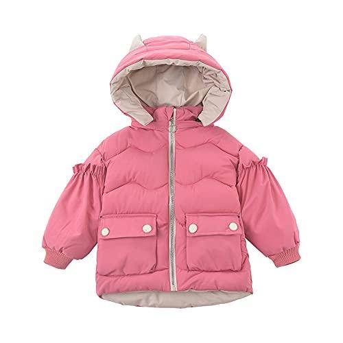 Little Baby Girls' Winter Outerwear Jackets Puffer Coats with Cute Angel Wings Detachable Horns Hood Watermelon Red-120