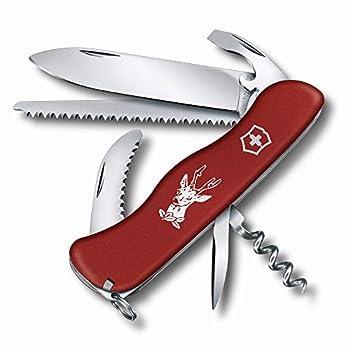 Victorinox Hunter Couteau de Poche Chasse Suisse, Multitool, 12 Fonctions, Lame Fixe, Tire Bouchon, Rouge