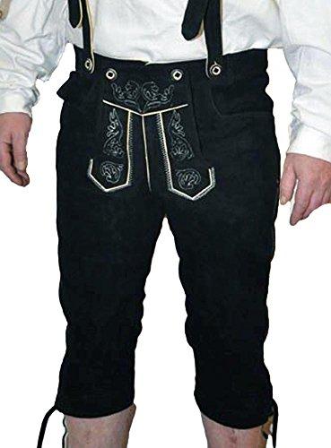 Alpin-Trachten Herren-Trachtenlederhose Kniebundhose mit H-Träger (50, schwarz)