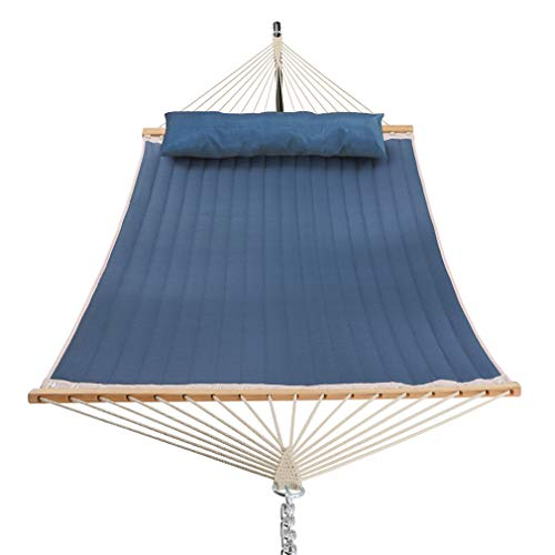 Patio Watcher 11 Feet Quilted Fabric Hammock with Pillow Double 2 Person Hammock with Bamboo...