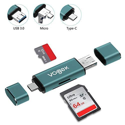 VOGEK TF/SD USB A 3.0 Kartenleser 3 in 1 Externe Kartenlesegerät mit USB A Micro USB und USB A Weiblich Kompatibel für MacBook Pro, iPad Pro 2018, Samsung S10, A40/A50, Huawei P30