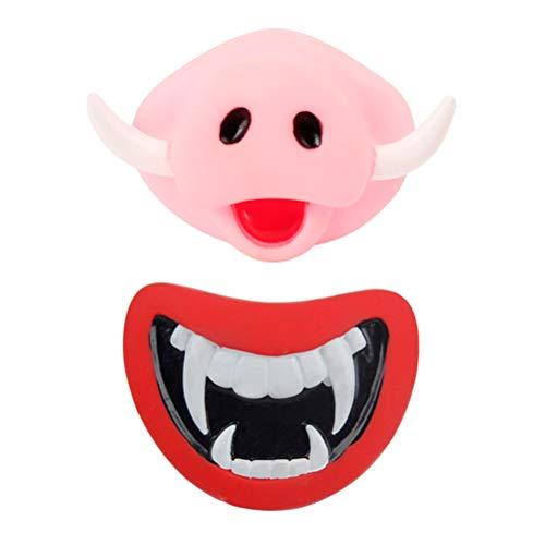 ifundom Decoración de Halloween 2pcs Masticar Mascota Perro Cachorro Molar Juguete de Morder de Sonido Juguetes para Mascotas (Vampiro + Cara de Cerdo)