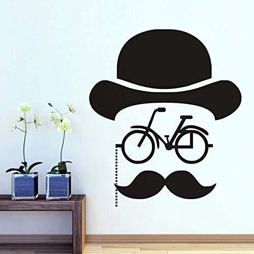 Tianpengyuanshuai Barbershop creatieve snor hoed fiets muur deur sticker zwart en wit jongen salon vinyl kinderen slaapkamer decor