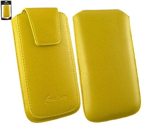 Emartbuy® Sleek Bereich Gelb Luxus PU Leder Slide in Hülle Tasche sleeve Halter Sleeve Holder ( Größe 3XL ) Mit magnetischer Klappen und Zuglasche Mechanismus Geeignet Für Slok D1 Dual Sim Smartphone