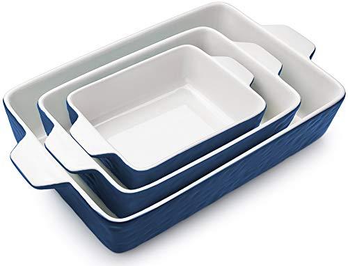Bakeware Set, Krokori Rectangular Baking Pan Ceramic Glaze Baking Dish for Cooking, Kitchen, Cake Dinner, Banquet and Daily Use - 3PCS (11.6 x 7.8 Inches, Dark Blue)