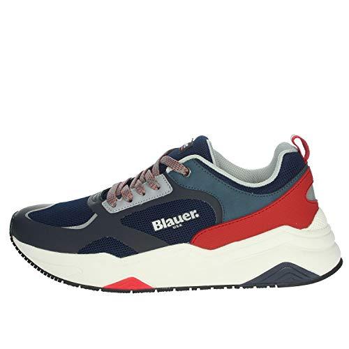 Blauer Scarpe Sneaker Running Tok in Ecopelle/Tessuto Blue Navy/Red US21BU10 41