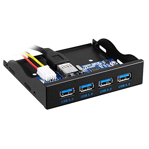 TR Turn Raise 3,5 Pollici, Pannello Frontale USB Hub con 4 Porte USB 3.0 (4 Porte)