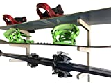 Premium Snowboard Wall Rack | Storage for: Snowboards, Skis, Skateboards, Scooters, Ripsticks, and More (3 Space)