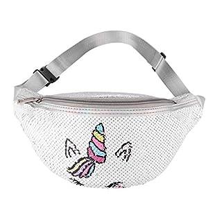 FENICAL riñonera Unisex Lentejuelas Unicornio Cintura Bolso Pecho cinturón riñonera para niños niñas