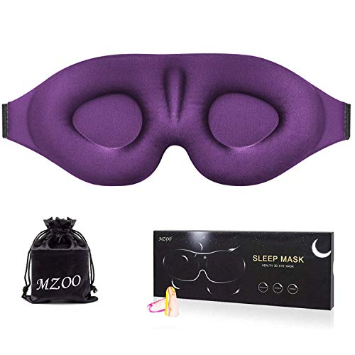 MZOO Sleep Eye Mask for Men Women, 3D Contoured Cup Sleeping Mask & Blindfold, Concave Molded Night Sleep Mask, Block Out Light, Soft Comfort Eye Shade Cover for Travel Yoga Nap, Purple