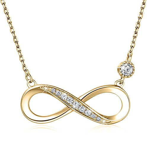 "Billie Bijoux 925 Sterling Silver Necklace Forever Love"" Infinity Heart Love Pendant White Gold Plated Diamond Women Necklace Gift for Mother's Day (B-Gold)"