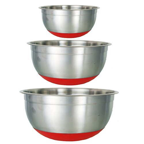 Buckingham - Set di 3 Ciotole con Base in Silicone, di Design, Colore: Argento/Rosso