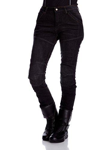 Roleff Racewear Motorradhose Kevlar Jeans für Damen, Schwarz, Größe 35