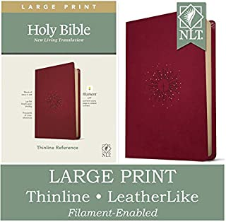 NLT Large Print Thinline Reference Holy Bible (Red Letter, LeatherLike, Aurora Cranberry): Includes Free Access to the Fil...