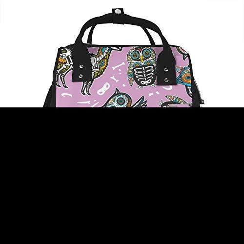 Owl Penguian Raccoon Skull Diaper Bags Large Capacity Mummy Bag Backpacks Multifunctional Travel Storage Bags