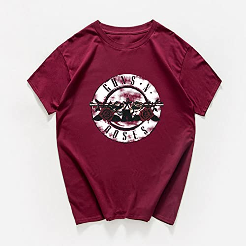 VIQNJ Ropa de Rock y Camiseta Rosa señoras Verano algodón Rock Banda Streetwear Camiseta de Mujer Pistola Rosa Rosa Camisetas homme-F125MT Vino Red_S