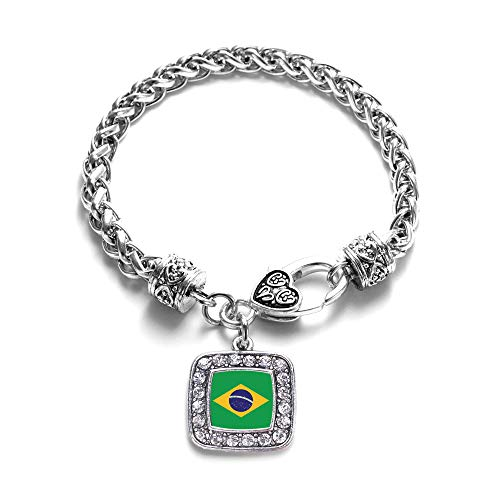 Inspired Silver - Brazilian Flag Braided Bracelet for Women - Silver Square Charm Bracelet with Cubic Zirconia Jewelry
