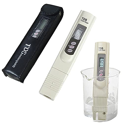 Freshzone Supreme Quality Pocket Digital TDS Meter + Carry Case - RO Filter Purifier Water Quality Tester Digital TDS Meter with Temperature Display Beige, 1 Piece