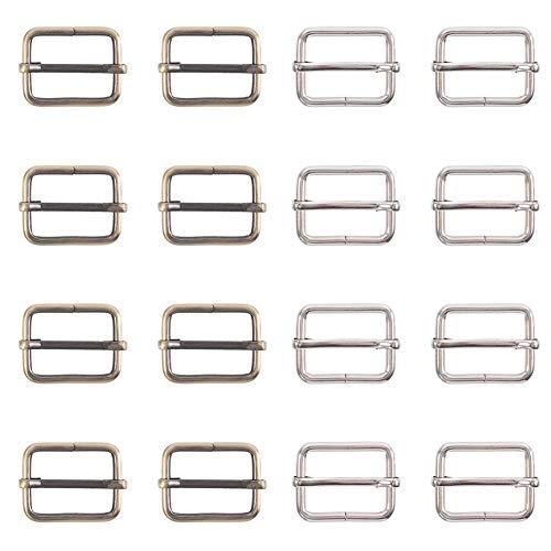 PandaHall Elite 20 piezas de hebilla de hierro deslizante de metal rectangular deslizante para sujetadores correa mochila, 35 mm x 21,5 mm diámetro interior: 26 mm, 2 colores mezclados