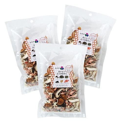 きたや 嬉多家 全て国産の乾燥キノコ おいしい6つのきのこ (椎茸・平茸・とき色平茸・舞茸・きくらげ・なめこ) 17g×3袋セット