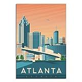 Vintage-Reise-Poster Atlanta, Leinwand-Kunst, Poster, Bild,