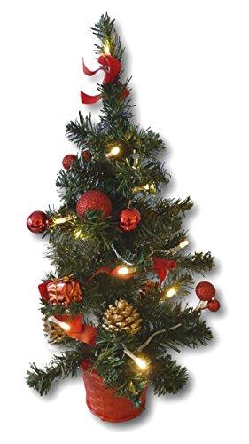 Best-Accessoires4All Albero di Natale Artificiale, 45 cm, con Catena Luminosa a LED e Palline per Albero di Natale, 20 luci, Decorato con pigne, Fiocchi (Decorazione per Albero Rosso)