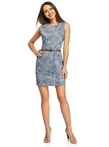 oodji Ultra Damen Tailliertes Ärmelloses Kleid, Blau, DE 38 / EU 40 / M