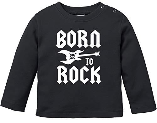 MoonWorks® Baby Langarmshirt Babyshirt Born to Rock Hardrock Heavy Metal Jungen Mädchen Shirt schwarz 68/74 (4-9 Monate)