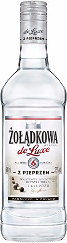 6 Flaschen Zoladkowa de Luxe Z Pieprzem Pfeffer Wodka 37,5% Vol. Polnischer Vodka a 0,5L