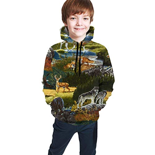 XCNGG Teen Sweater Boy Sweater Girl Sweater Sudadera con Capucha Mountain Bear Moose Sweatshirts Warm Hoodie Pullover for Boys Girls Funny 3D Hooded Sweater with Pocket