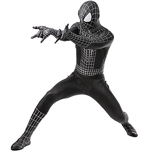 LGGQDC Disfraz Black Spiderman niño Adulto Superhéroe Disfraz Spiderman Body Costume Spiderman Negro Mono de los Vengadores Papel Play Ropa Masquerade Traje de Disfraz de Fiesta Navidad Halloween