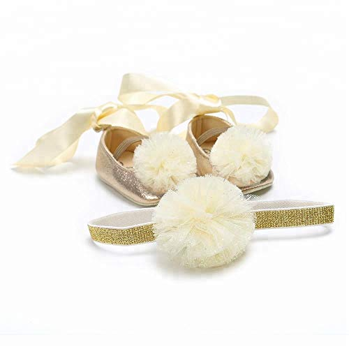 ZXYSHOP Baby-Kleinkind-Spitze-Blumen Mary Jane Taufe Schuhe Bogen-Band-weiche Sohle Prewalker Brautkleid Schuhe Beige-11cm