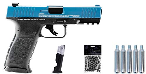 Wearable4U Umarex T4E TPM1 (8XP) .43 Cal Paintball Marker Training Pistol with Pack of 100 .43 Cal Balls and 5x12gr CO2 Tank Bundle (Blue/Black (Pistol + Mag + 100 Rubber Balls + 5 CO2 Tank))