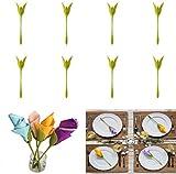 Bigbutterfly - Soporte para servilletas, diseño de flores, 8 unidades, color...