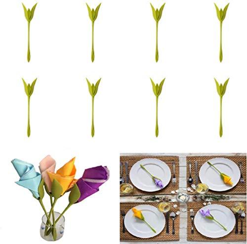 Bigbutterfly - Soporte para servilletas, diseño de flores, 8 unidades, color verde Servilletas...