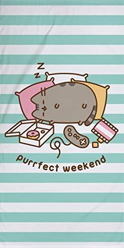 Pusheen Purrfect Weekend - Toalla de baño (75 x 150 cm, 100 % algodón, calidad de terciopelo, toalla de baño, toalla de playa, toalla de sauna, diseño de gato